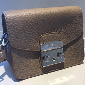 Beige leather FURLA crossbody bag